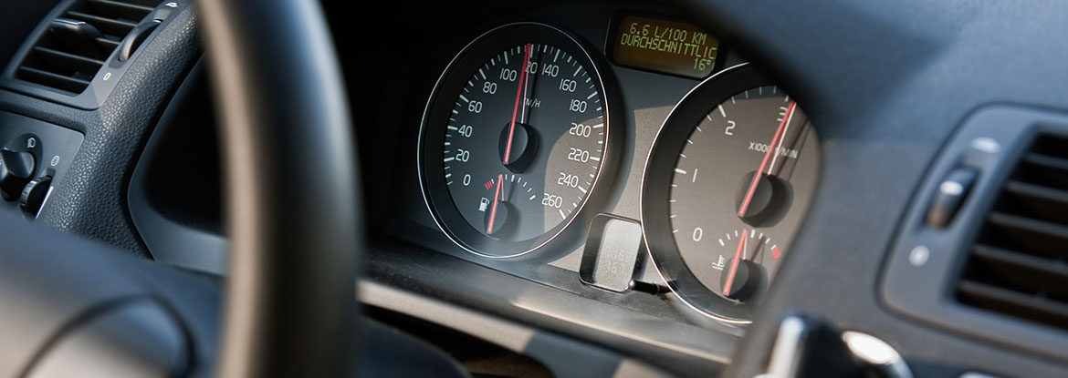 Close up of a cars speedometer